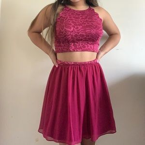two piece pink macy's formal dress size s (nwt)